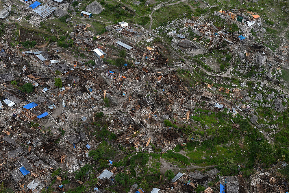 Village dévasté dans la région de Gorkha