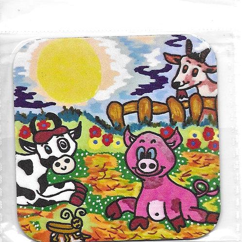 Magnet Léon le cochon, Aude la vache et Binette la chèvre
