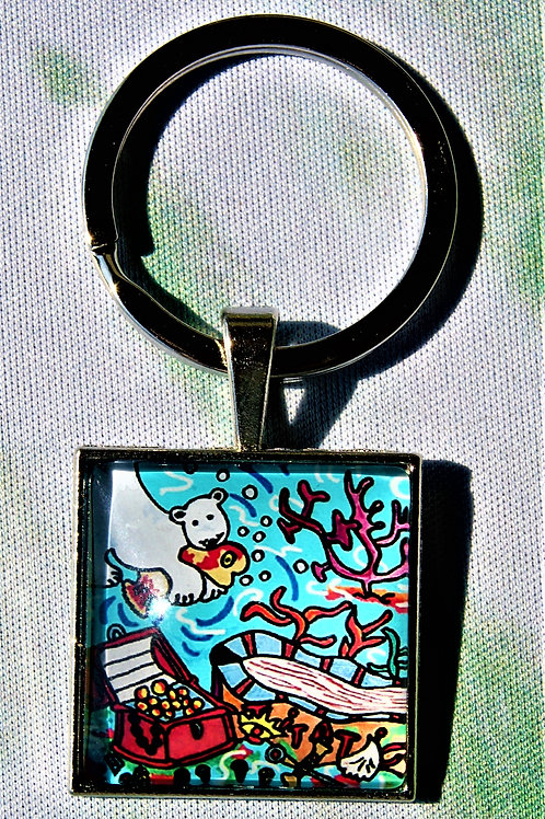 Porte-clés Le Titatic avec Ted l'ours polaire et Fishy