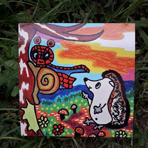 Carte postale de Spider Dédé et Lulu le hérisson