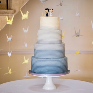 Blue and Grey Ombre Wedding Cake