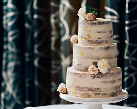 Gold Leaf Naked Wedding Cake by The Cuppa Cakery Cornwall