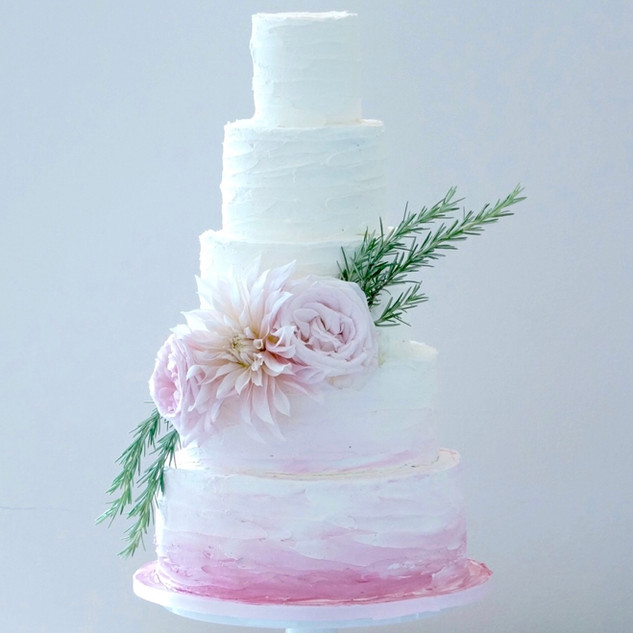 4 Tier Ruffle Ombre Wedding Cake