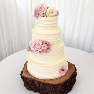 4 Tier Flower Ruffle Wedding Cake