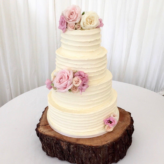 4 Tier Flower Ruffle Wedding Cake