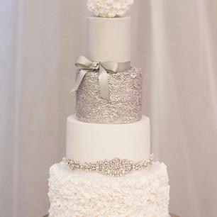 4 tier Ruffle and Glitter Wedding Cake