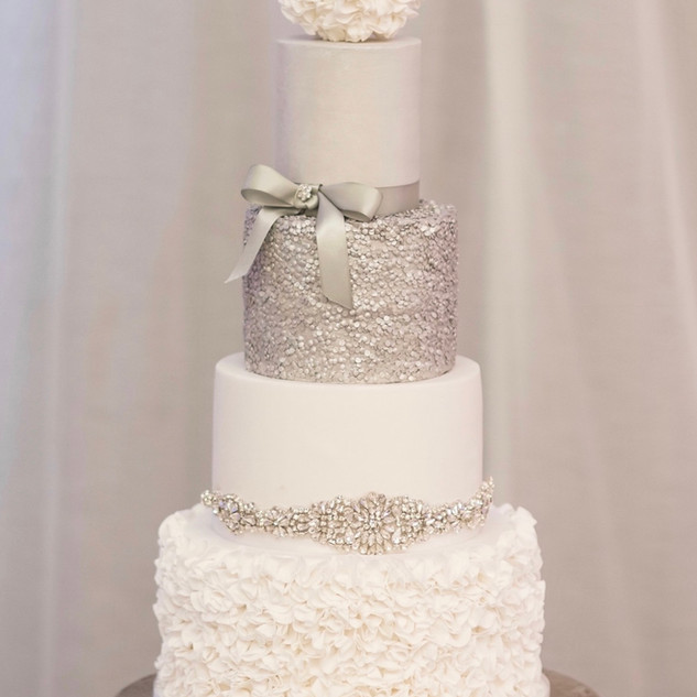 4 tier Ruffle and Glitter Wedding Cake