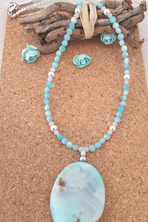 Collier en pierre d'Amazonite et palet en agate.