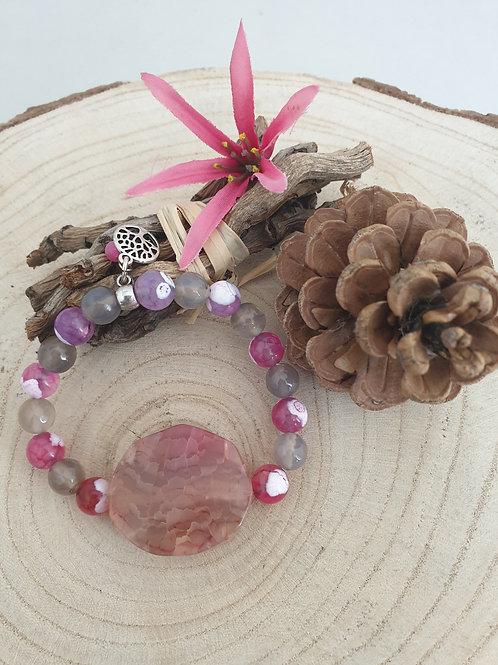 Bracelet en agate rose et gris.