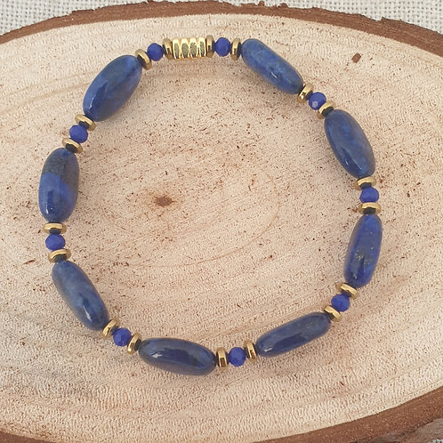 Bracelet bleu et doré.