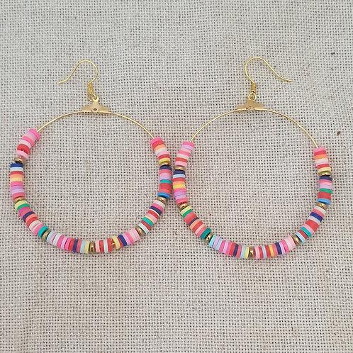 Boucles créoles multicolore.