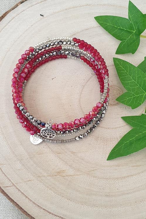 Bracelet en fil mémoire couleur rouge et argent.