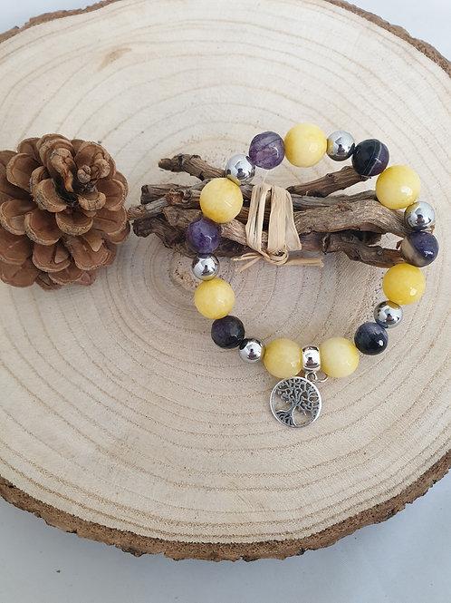 Bracelet extensible jaune et noir.