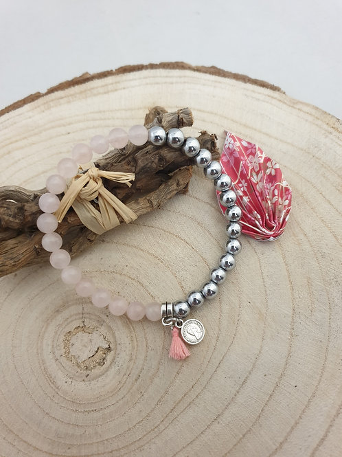Bracelet en quartz rose et hématite.