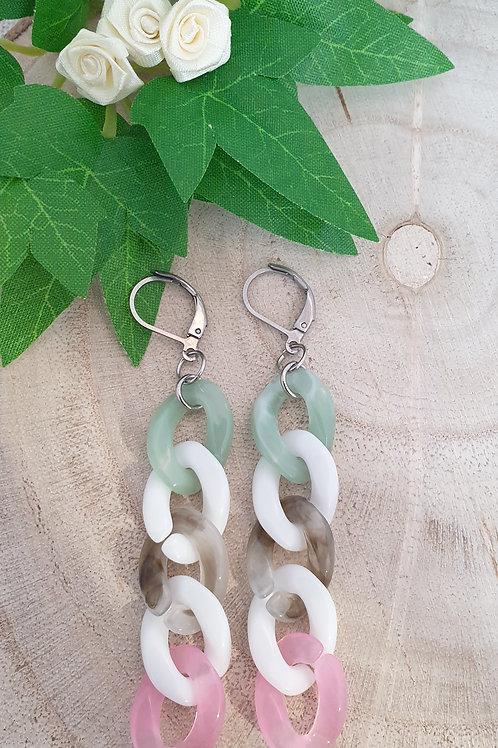 boucles d'oreilles chaine maillons en acrylique vert blanc rose et gris