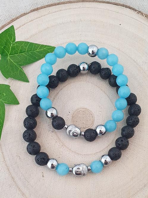 Bracelets en duo noirs et bleus (toi  et moi).