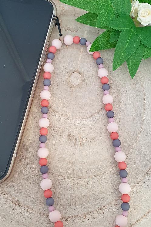 bijoux de téléphone perles en acrylique rose corail et anthracite