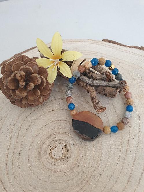 Bracelet extensible en agate.