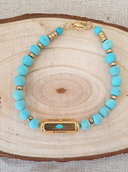 Bracelet turquoise en doré.
