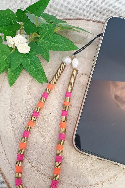 bijoux de téléphone rondelles heishi résine et hématite doré rose et orange