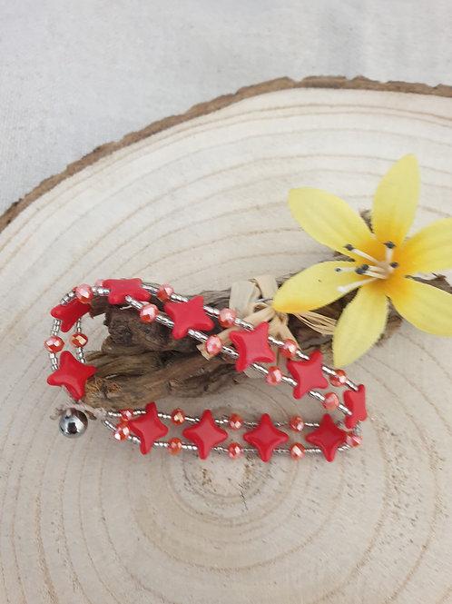 Bracelet rouge et argent.