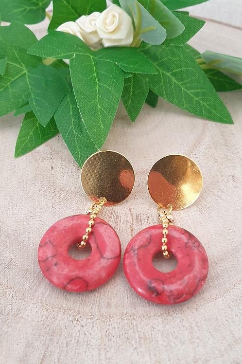 boucles d'oreilles donut en pierres