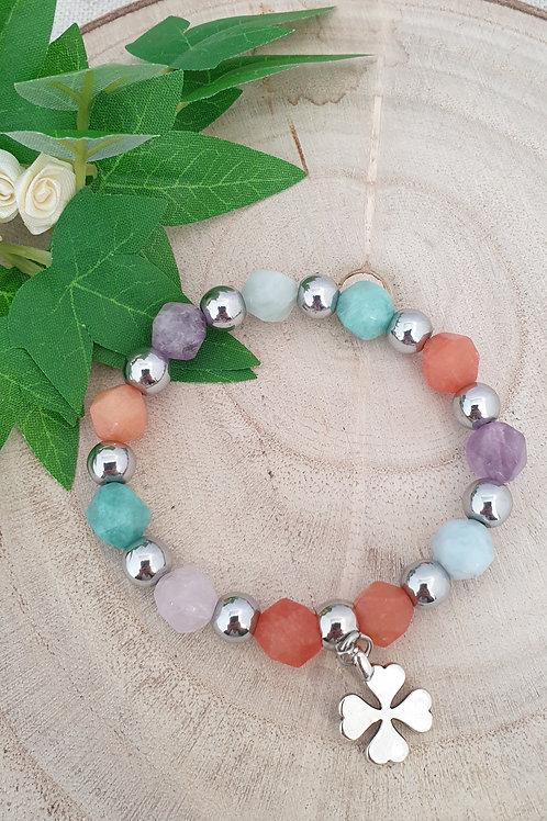 bracelet pierres cornaline améthste avanturine et howlite