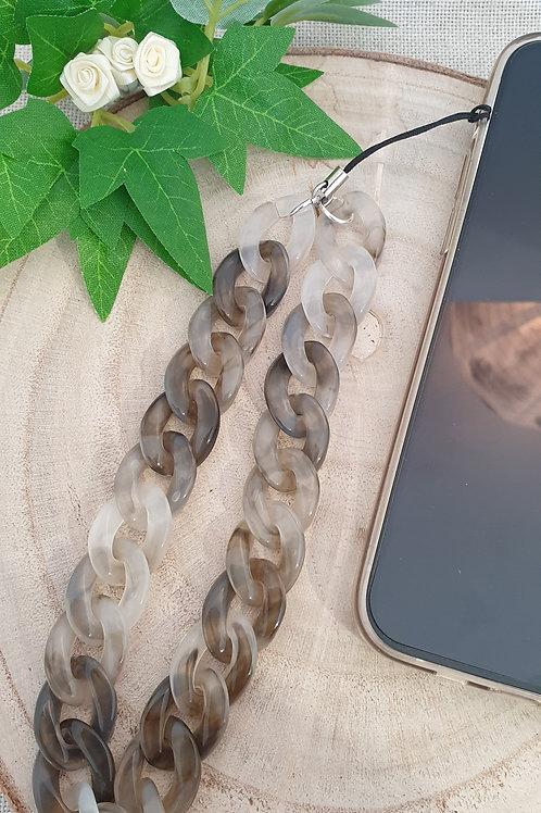 bijouxtéléphone chaine maillos en acrylique gris chiné