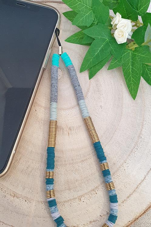 bijoux de téléphone rondelles heishi résine et hématite doré et bleu