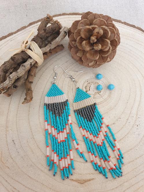 Boucles style oriental en perles Miyuki.