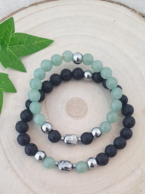 Bracelets en duo noirs et verts (toi  et moi).