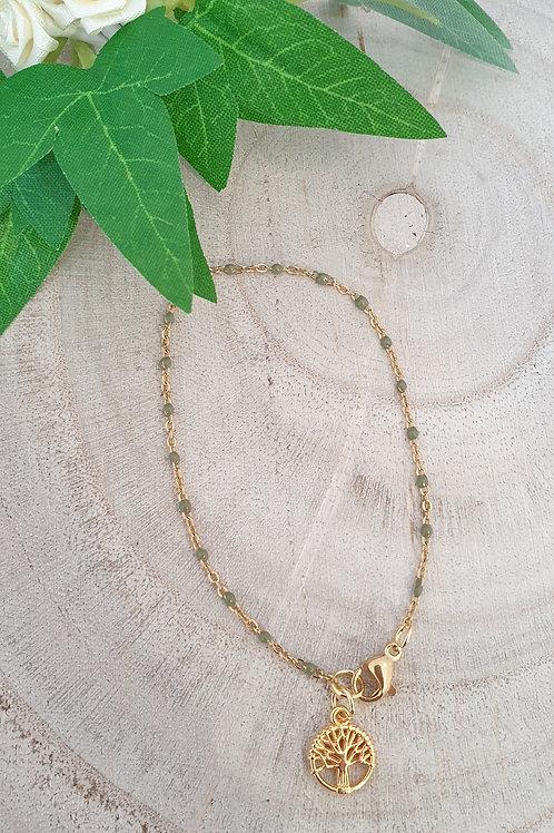 bracelet acier inoxydable doré avec broloque arbre de vie