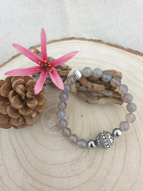 Bracelet en agate grises.