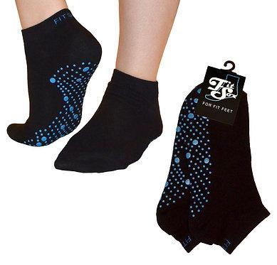 Black with blue dots GRIP Socks