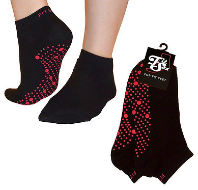 Black with red dots Grip Socks