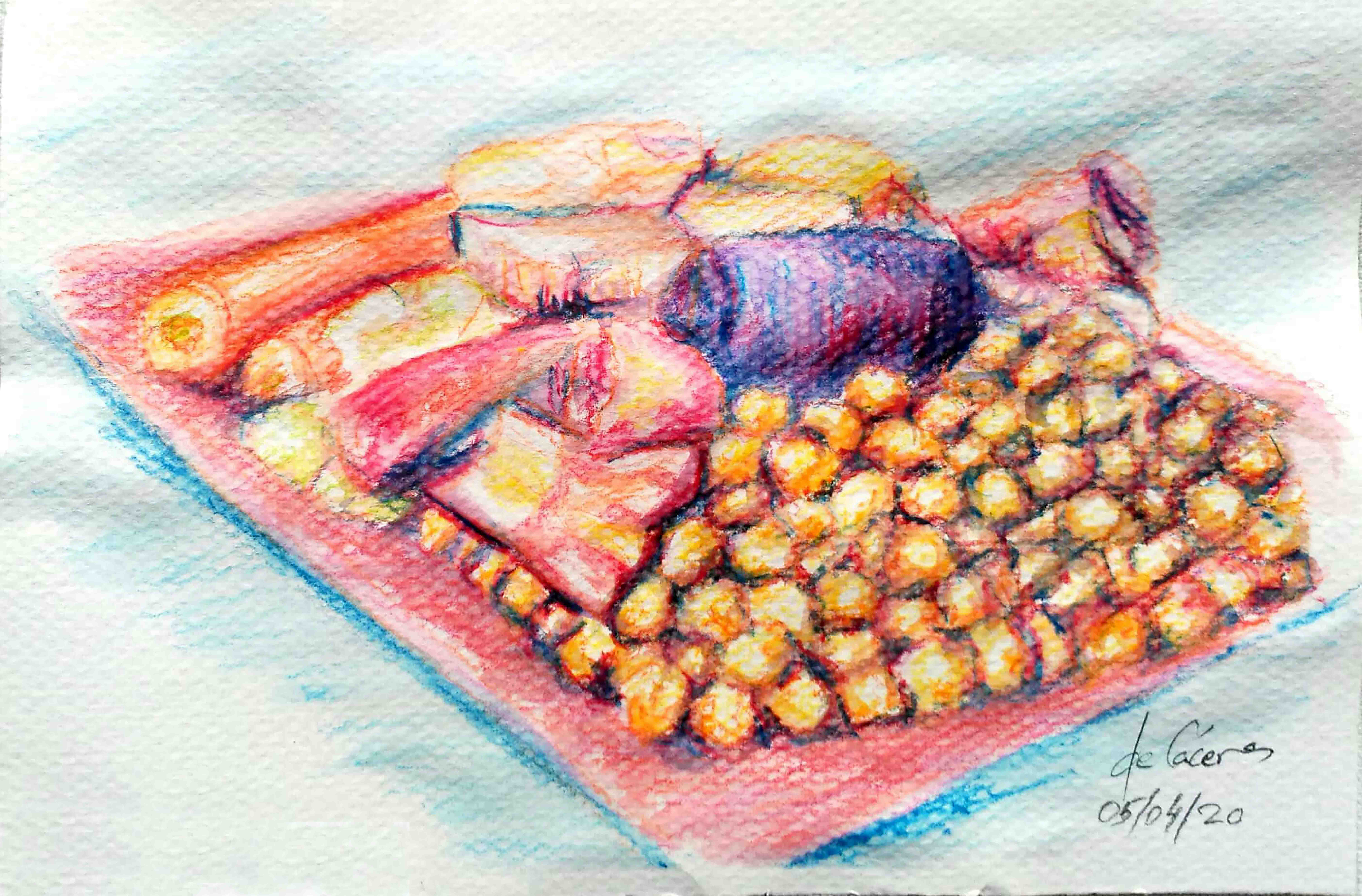 Manjares carnicos y horticolas sobre lecho de garbanzos