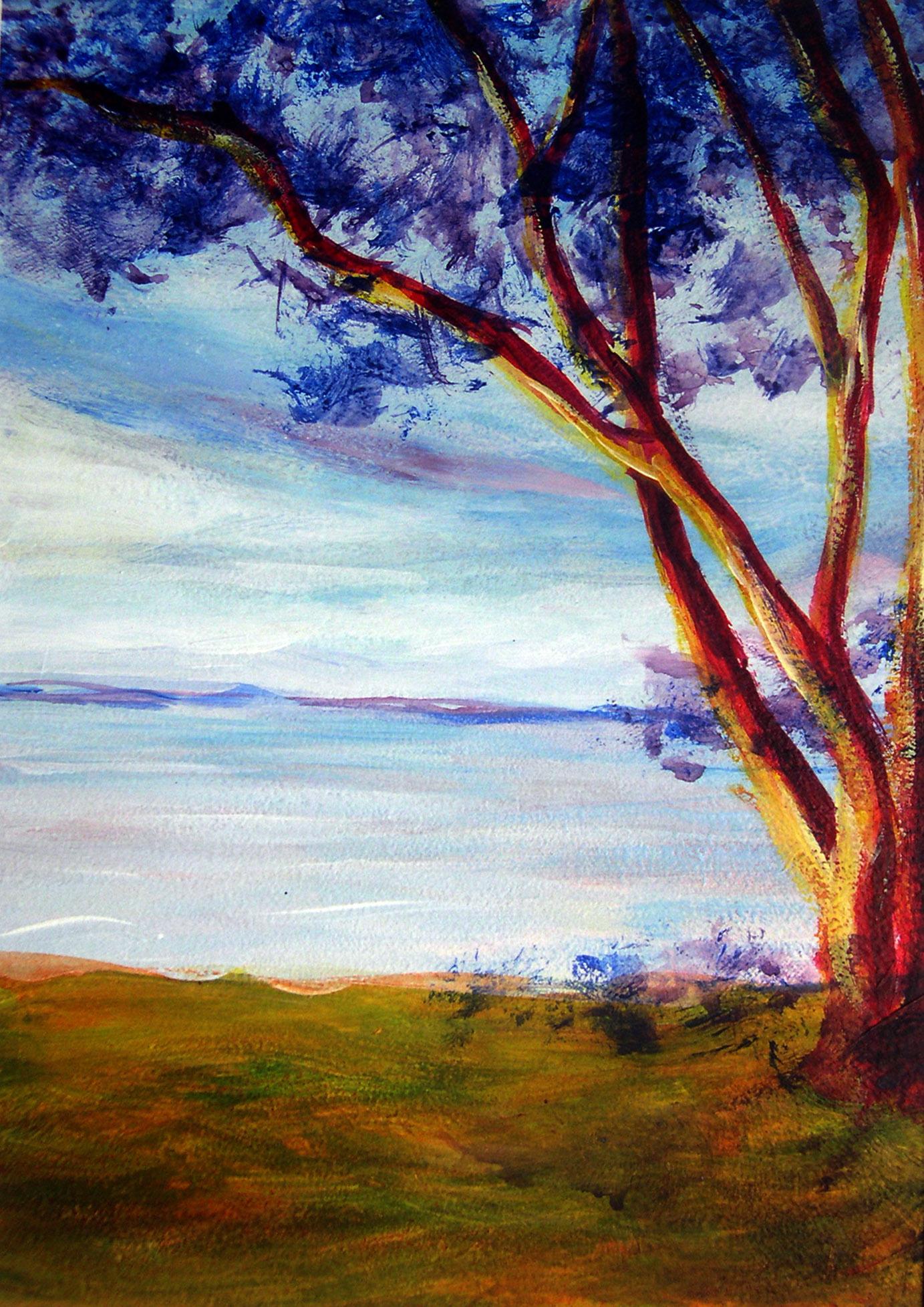 arbol a la orilla - paisaje felicitacion 3-09