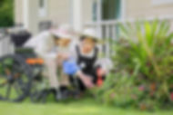 Elderly-woman-gardening-in-backyard-with