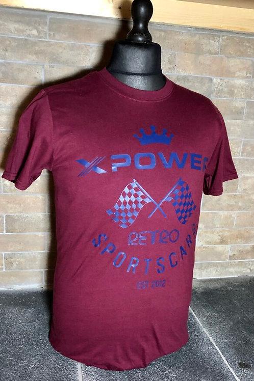 Retro Sports Cars Flag Tshirt-Wine