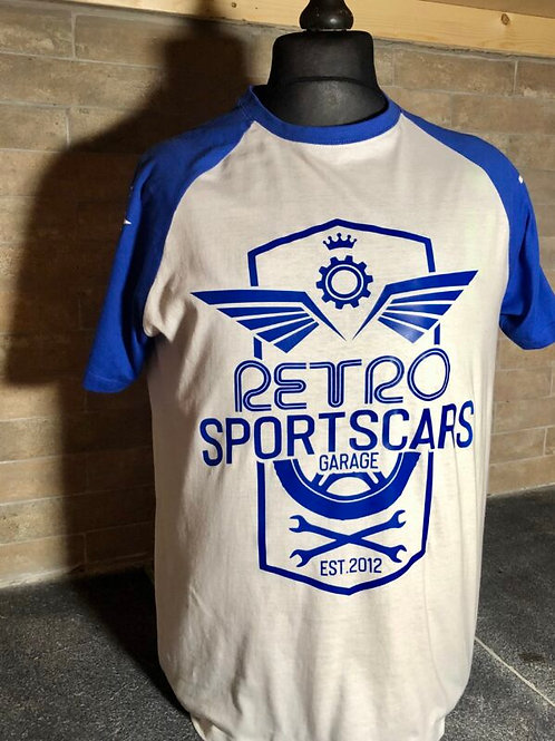 Retro Sports Cars T shirt-Blue & White