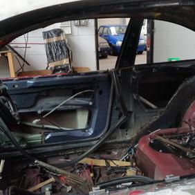 Inside the car.