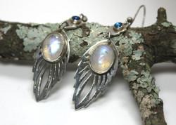 Rainbow moonstone and paua shell earrings