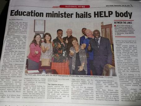 Uganda's Education Minister hails H.E.L.P. International