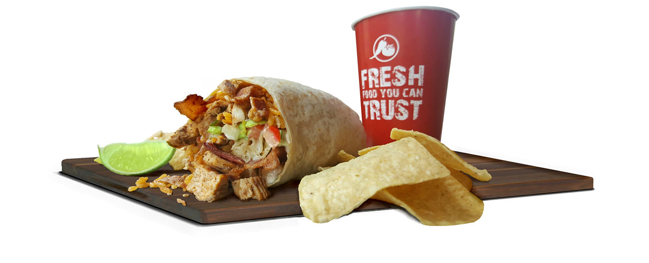 chicken, bacon, ranch burrito