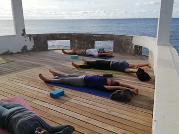 Yoga on our ocean deck