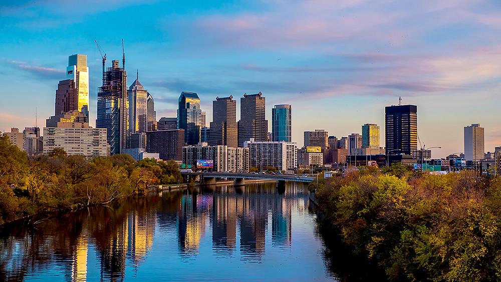 Vue de Philadelphie au bord du fleuve Delaware
