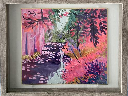 Pink Water Garden Watercolor