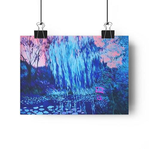 Blue Water Garden Giclée Art Print 11 x 8