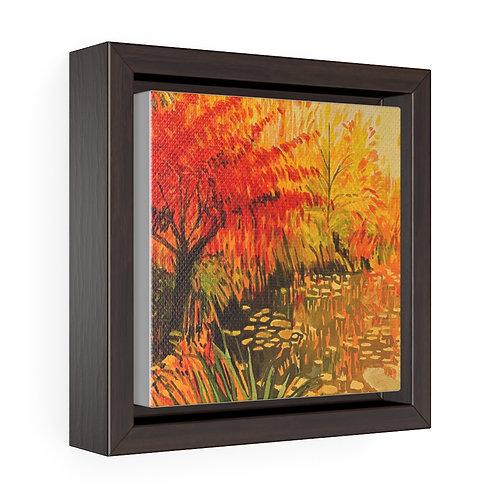 Naranja Watercolor Square Framed Premium Gallery Wrap Canvas