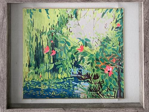 Green Water Garden Watercolor